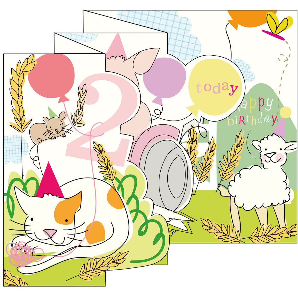 Farm Girl Zigzag Fold Out 2nd Birthday Card - Caroline Gardner