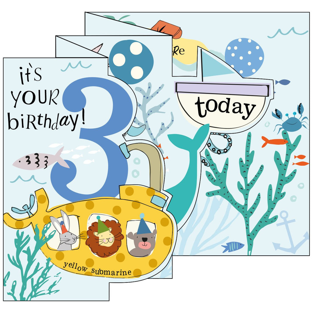 Underwater Boy Zigzag Fold Out 3rd Birthday Card - Caroline Gardner