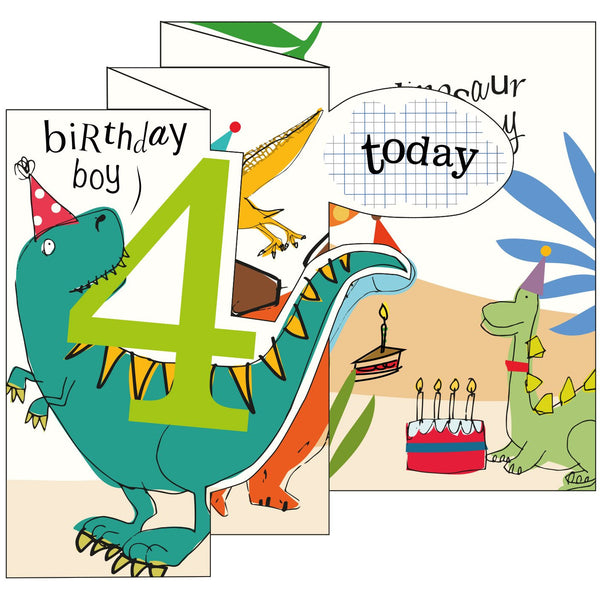 Dino Boy Zigzag Fold Out 4th Birthday Card - Caroline Gardner