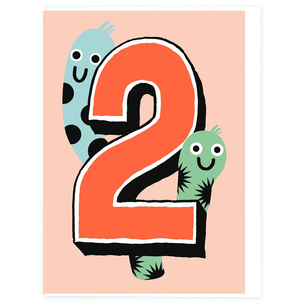 Age 2 Worms Birthday Greeting Card - Noi Publishing