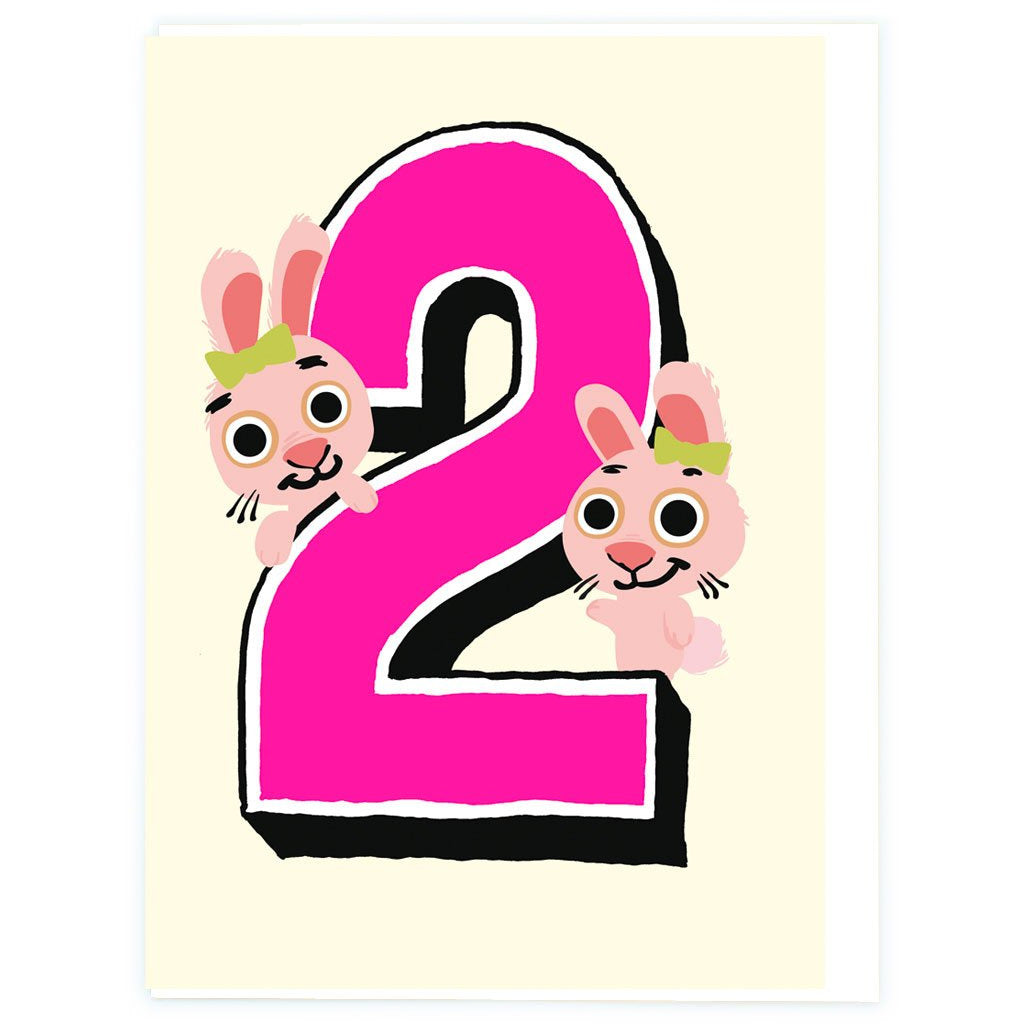 Age 2 Bunnies Birthday Greeting Card - Noi Publishing