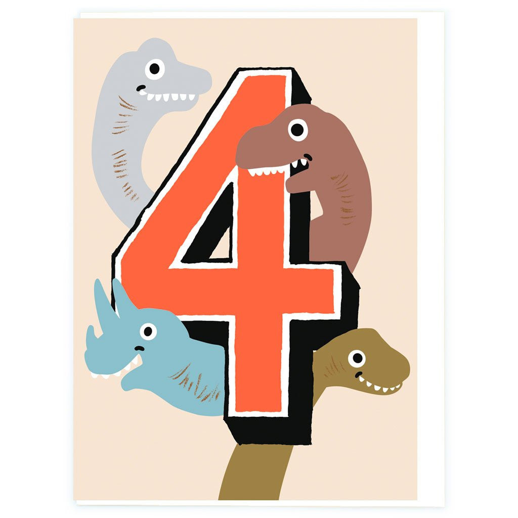 Age 4 Dino Birthday Greeting Card - Noi Publishing