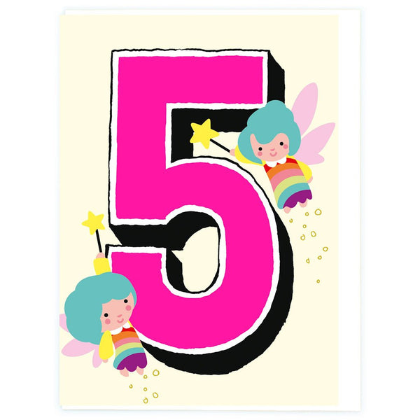 Age 5 Fairies Birthday Greeting Card - Noi Publishing