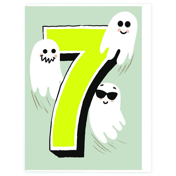 Age 7 Ghost Birthday Greeting Card - Noi Publishing