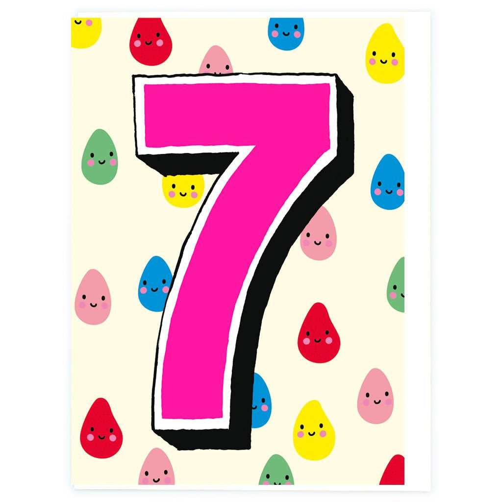 Age 7 Multicolour Drops Birthday Greeting Card - Noi Publishing