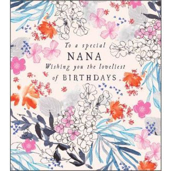 Special Nana Floral Border Birthday Card - Pigment Productions