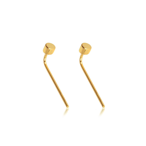 Matthew Calvin Drop Back Dot Studs - Gold