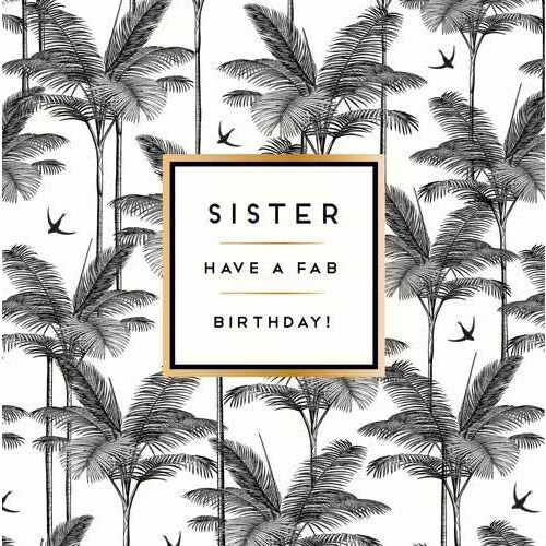 Sister Birthday Palm Trees Birthday Card - Pigment Productions
