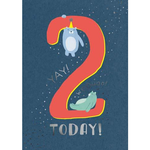 2 Whoosh Boy Today! Woohoo! Yay! Bears Birthday Card - Pigment Productions