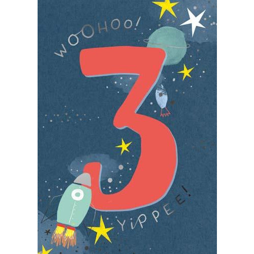 3 Whoosh Boy Woohoo! 3 Yippee! Rockets, Stars, Planets Birthday Card - Pigment Productions