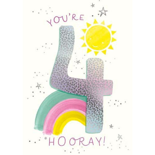 4 You're 4 hooray! Sunshine and Rainbow Birthday Card - Pigment Productions