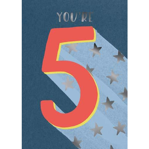 5 Whoosh Boy You're 5 Stars Birthday Card - Pigment Productions