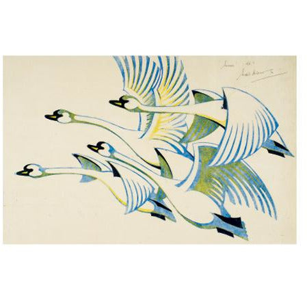 Swans Linocut Card - Art Angels by Sybil Andrews