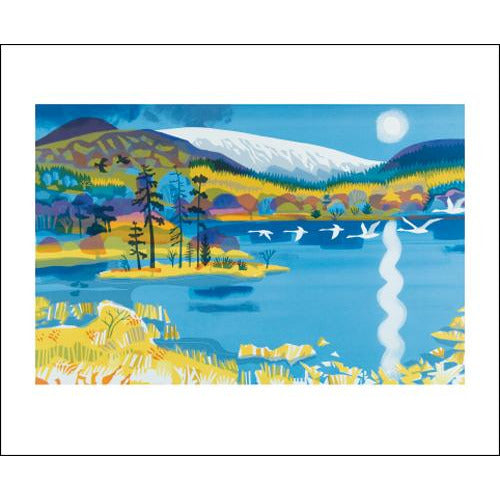 The Swans Return to the Loch Screenprint Card - Art Angels by Carry Akroyd