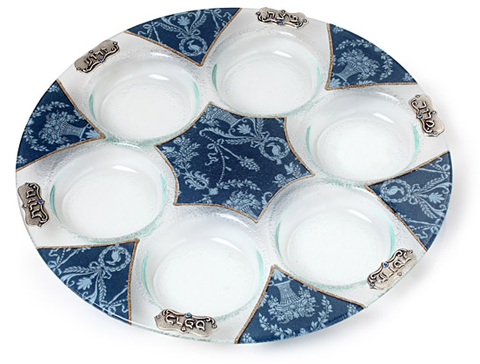 Lily Art Blue Glass Seder Plate (6543780053127)