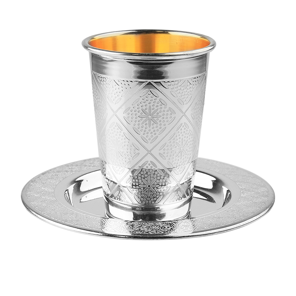 Diamond Etched Silver Coated Kiddush Cup (6537954394247)