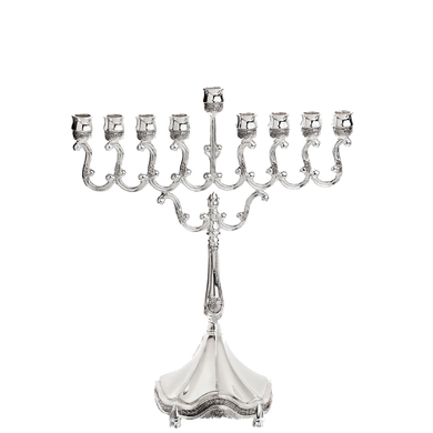 Elegant  Nickel Plated Menorah (Various Sizes) (5214850908295)