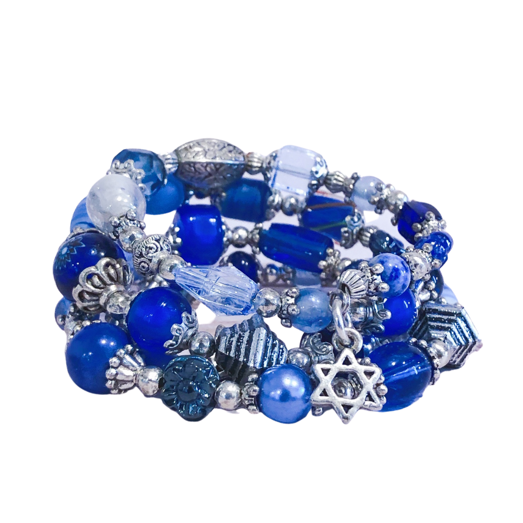 Blue Jewel & Stone Magen David Bracelet (5065131884679)