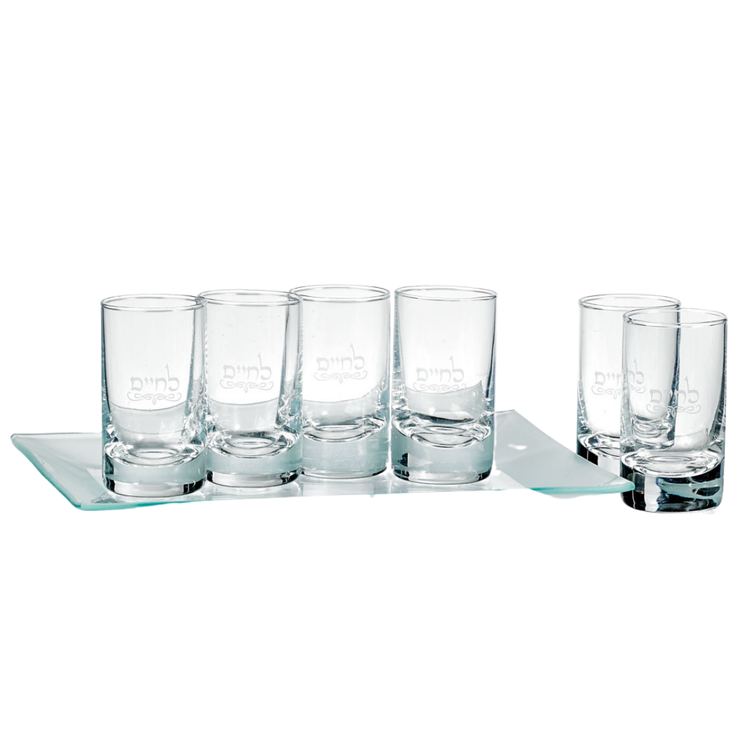 L'Chaim Shot Glass Set and Tray (5209387335815)