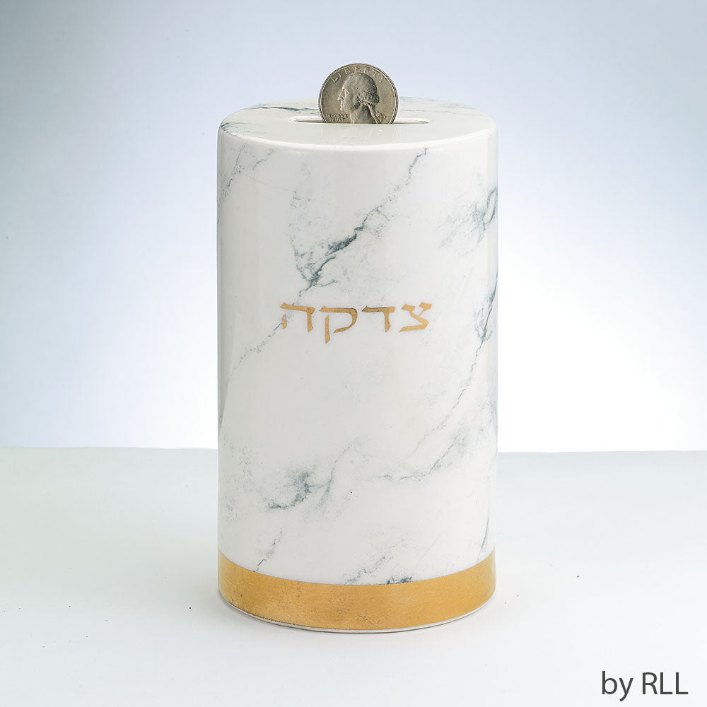 Marble Design Ceramic Tzedakah Box (5111541072007)