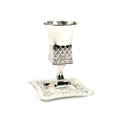 RARE: Scalloped Kiddush Cup w/ Tray (5065098559623)