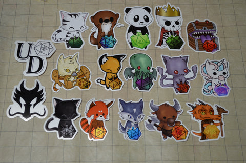 All 15 D20 Sticker + 2 Logo Stickers