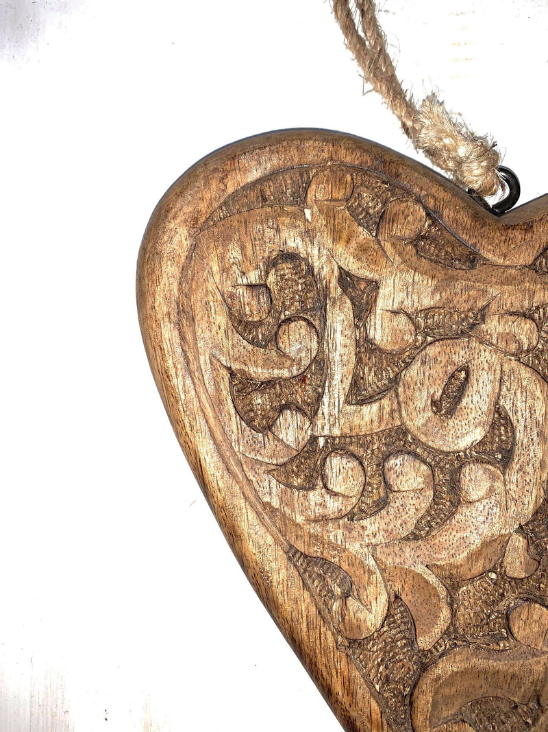 Carved Wooden Hanging Heart