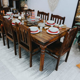 6 Seater Thakat Shesham Walnut Dining Table