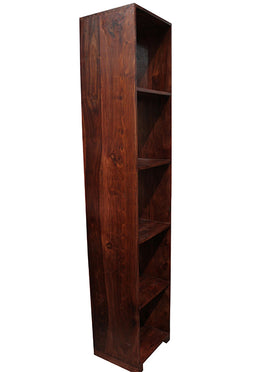 Vertical 5x1 Acacia Walnut Cube Shelf