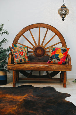 Teak Wheel Cart Bench
