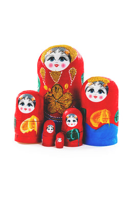Hand Painted Indian Babushkas - 6 Doll Set