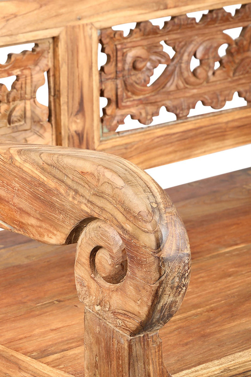Carved Teak Antique Bench