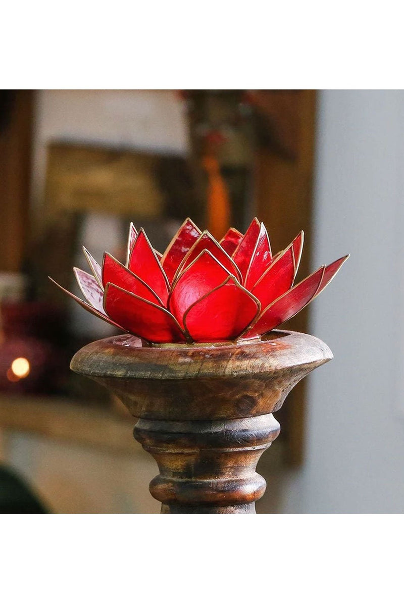 Ruby Red Lotus Tealight Holder