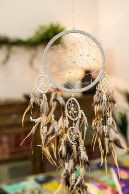 White Beady Dreamcatcher