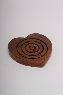 Sheesham Wood Heart Labyrinth Game