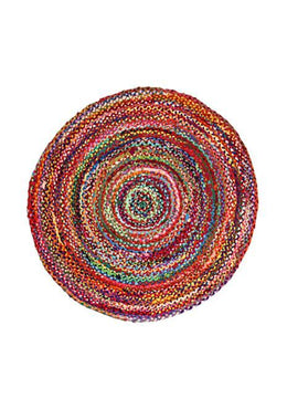 120cm Round Braided Chindi Rug