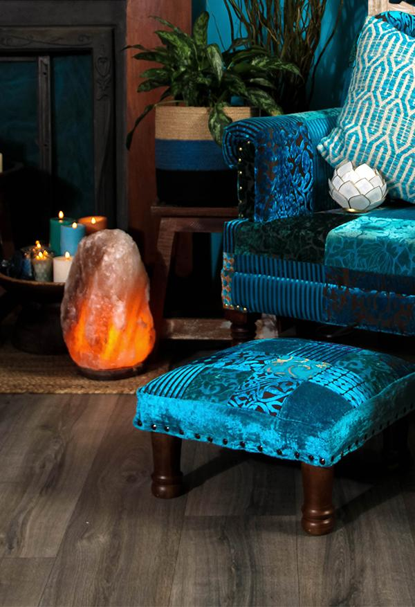 Turquoise Patchwork Velvet Rayon Stool