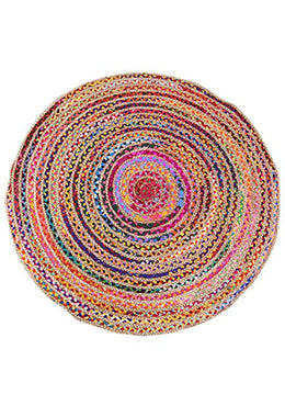 120cm Round Braided Chindi & Jute Rug