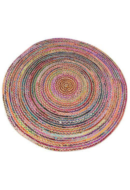 200cm Round Braided Chindi & Jute Rug