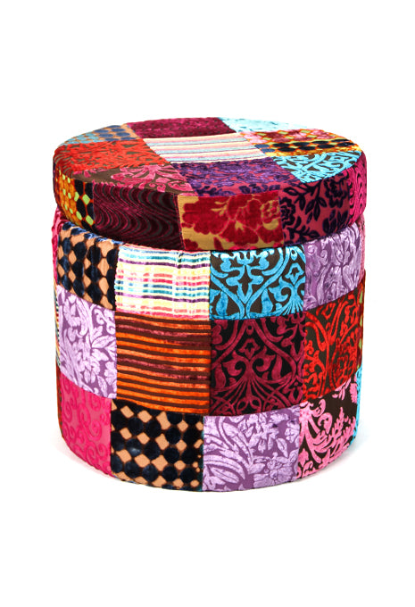 Velvet Patch Box Stool
