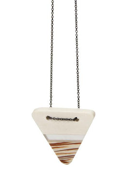 Resin Palm Wood Triangle Necklace