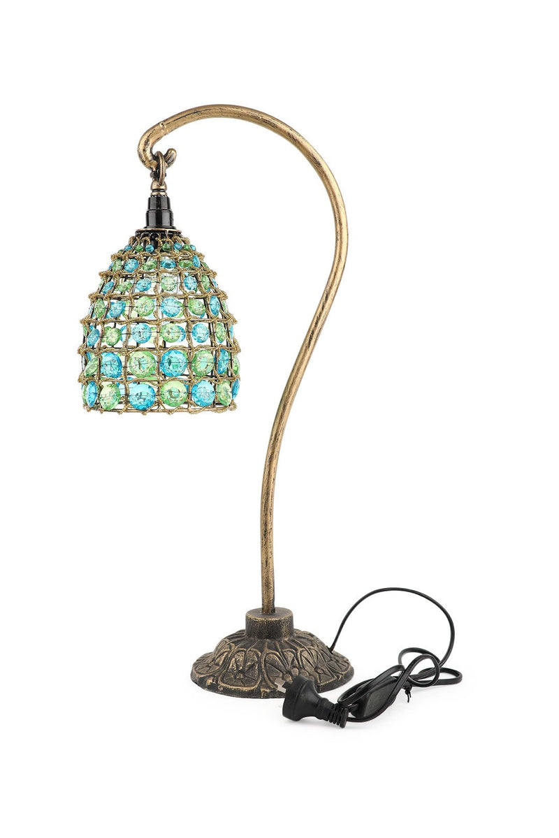 Green & Blue Beaded Hook Lamp