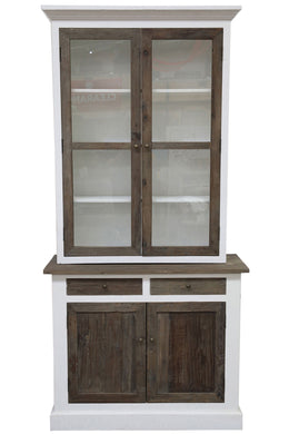 2 Part Driftwood Glass Door Cabinet