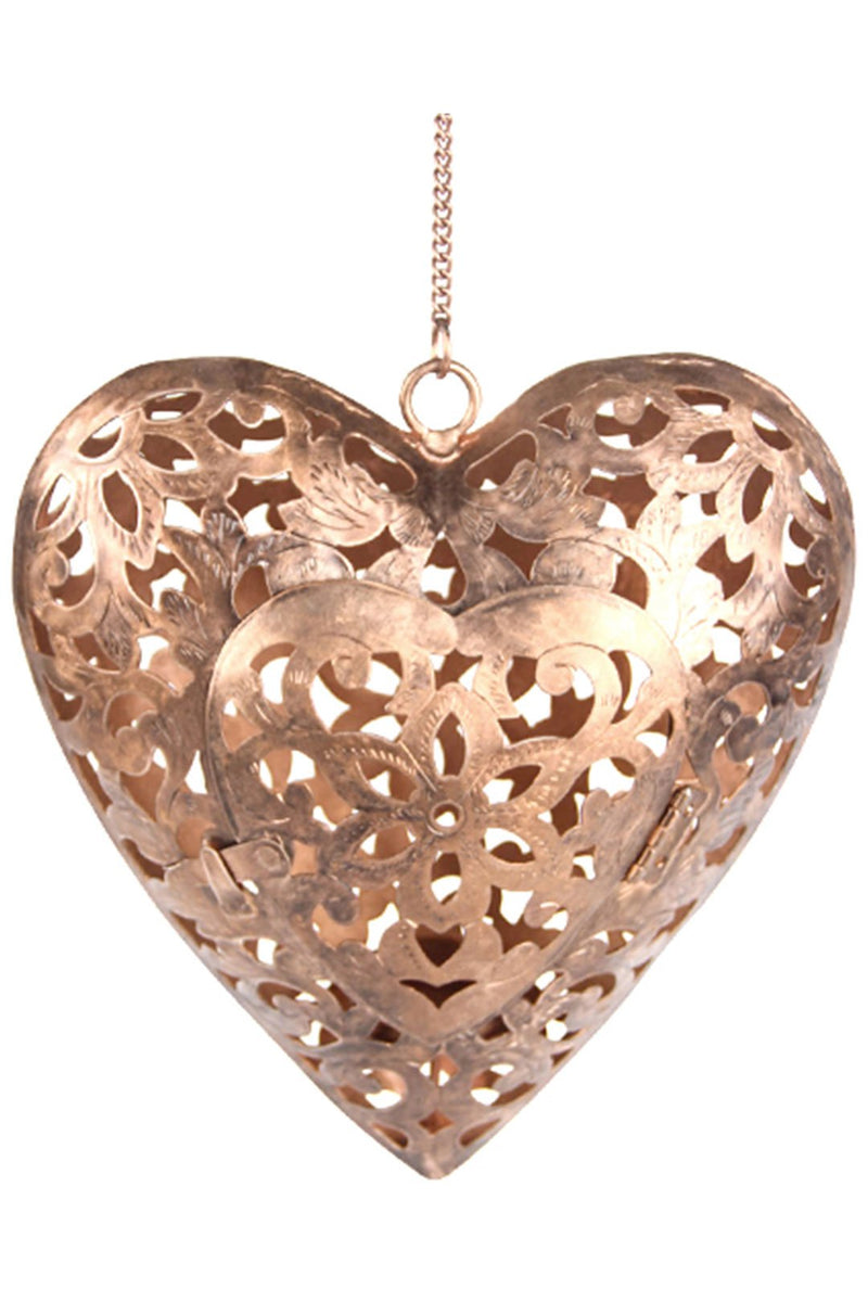 Heart Cutwork Copper Candle Holder