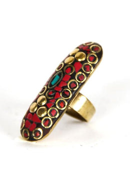 Brass Nepali Long Shield Ring