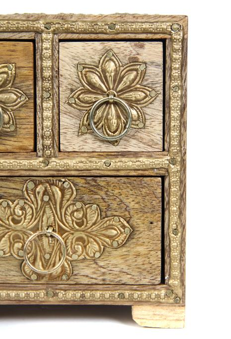 Box Drawer 3 Natural Brass Work 13x11x14cm