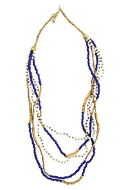 Layered Brass & Blue Bead Necklace