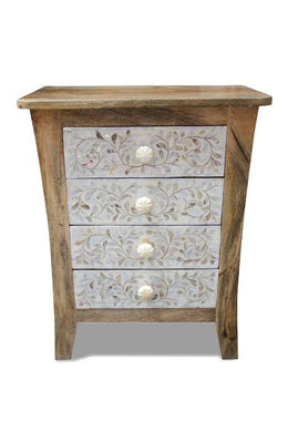 Cabinet Bedside Mother of Pearl Inlay 4 Drawer 50x33x64cm