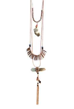 Cotton Tassel Gemstone Necklace