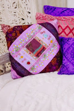 Purple Sari Cushion